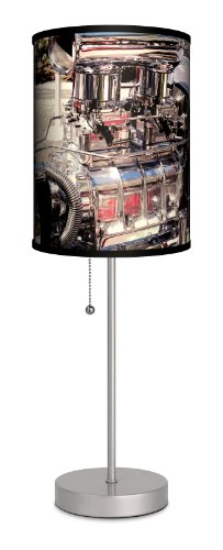 - Transportation - Hot Rod Engine Sport Silver Lamp