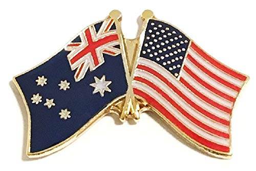 Pack of 3 Australia on The Right & US on The Left Crossed Flag Lapel Pins, Australian & American Friendship Tie & Hat Pin -