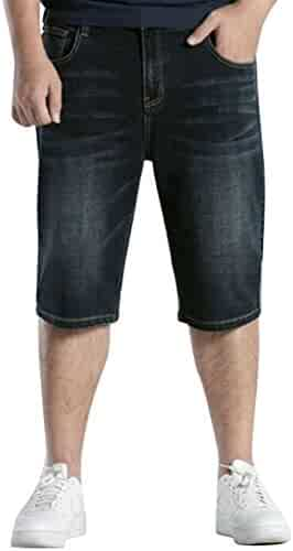 10794bfd07 Oberora-Men Plus Size High Waist Straight Leg Loose Fit Casual Denim Jeans  Shorts