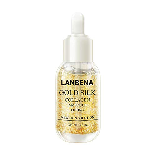 Gold Silk Collagen Essence Anti Wrinkle Whitening Moisturizing Serum für die Entfernung von Melanin Dunkle Flecken, Anti-Aging Feuchtigkeitspflege Gel für Gesicht (15ml)