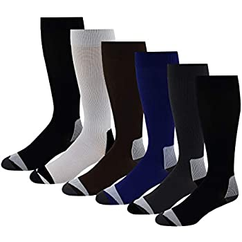 a68160b7c4 6 Pairs Pack Moderate ( 15-20 mm Hg ) Sports , Travelers , Anti-Fatigue ,  Graduated Compression Knee High Socks 10-13 (Assorted Solid)