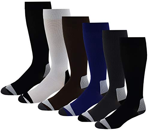 - 6 Pairs Pack Moderate ( 15-20 mm Hg ) Sports , Travelers , Anti-Fatigue , Graduated Compression Knee High Socks 10-13 (Assorted Solid)