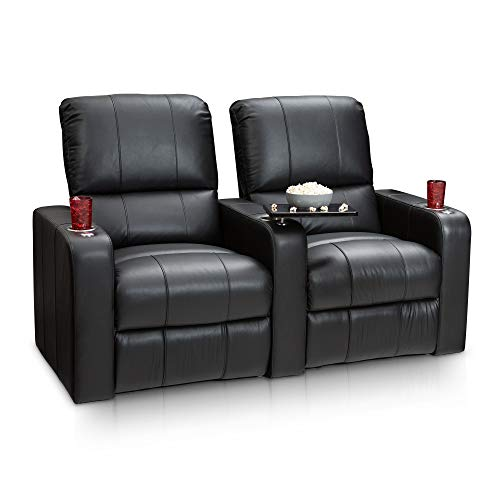 Seatcraft Millenia Home Theater Seating Manual Recline Leather Row of 2, Black
