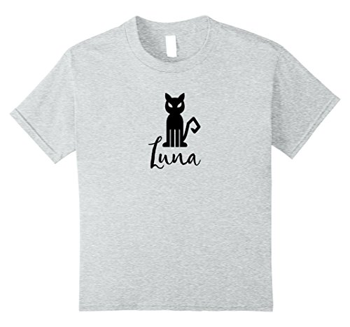 Kids Luna Black Cat Halloween Party Costume Name T-shirt Tee 10 Heather Grey