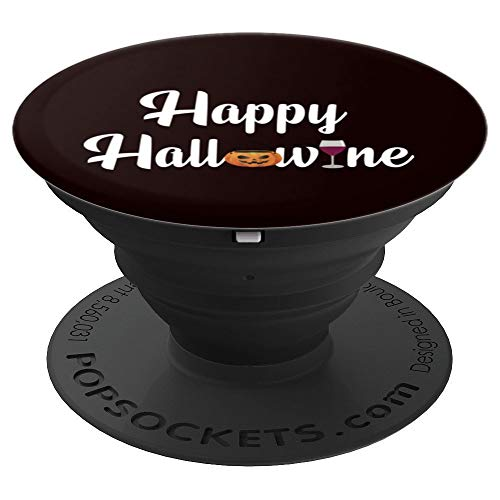 (Happy Hallowine Shirt Funny Halloween T-shirt Gift Wine Love PopSockets Grip and Stand for Phones and)
