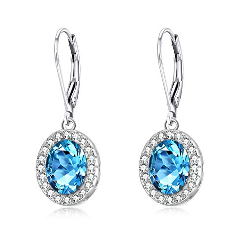 - AOBOCO Sterling Silver Leverback Aquamarine Earrings Blue Oval Crystal Drop Halo Earrings with Swarovski Crystals,Fine Jewelry Gift for Women Girls