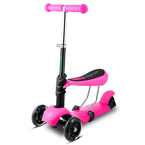 Ancheer Toddler Kids Scooter 3-in-1 Mini 3 Wheel Adjustable Kick Push Scooter with Removable Seat, LED Light Up Wheels, Gifts for Children Boys Girls Age 2-8