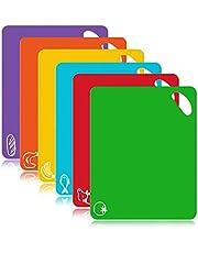 FUKTSYSM Plastic snijplank - 6 stuks extra dikke flexibele kunststof snijplank matten met voedsel pictogrammen, 1,3 MM antislip antimicrobiële gemakkelijk hangende planken, vaatwasser veiligheid