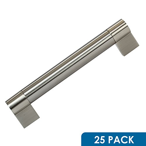 25 Pack Rok Hardware 6-5/16'' (160mm) Center Brushed Nickel Euro Twin Bar Style Solid Metal Kitchen Cabinet Drawer Door Handle Pull 7-9/32'' (185mm) Length by Rok