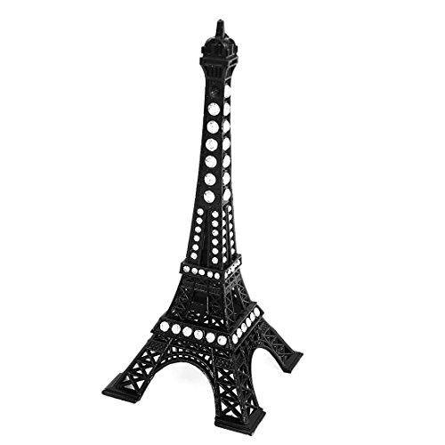 uxcell Rhinestone Black Paris Eiffel Tower Figurine Sculpture Model Office Decor (Rhinestone Figurine)