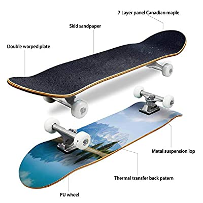 EFTOWEL Skateboards View of mt Wilder Kaiser astberg Going Tyrol Austria Water Surface Classic Concave Skateboard Cool Stuff Teen Gifts Longboard Extreme Sports for Beginners and Professionals : Sports & Outdoors