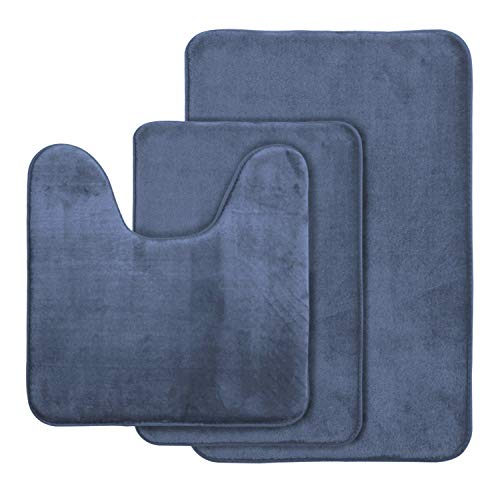 AOACreations Non Slip Memory Foam Bathroom Bath Mat Rug 3 Piece Set, Includes 1 Large 20