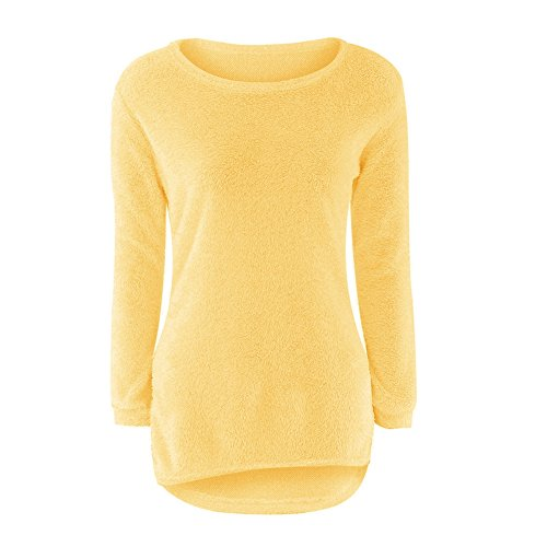 Mohair Blend Sweater (Easyhousehome Fashion Women Casual Tops Mohair Blend Fuzzy Blouse Pullover Jumper Loose Sweater Knitwear (L, yellow))
