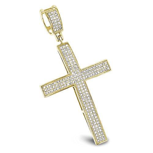 Luxurman Natural 0.6 Ctw Diamond Cross Pendants 10K Gold Cross (Yellow - Unisex Diamond Gold Cross