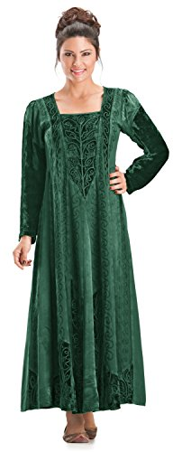 [HolyClothing Morgana Medieval Velvet Satin & Lace Tudor Princess Dress Gown - 4X-Large - Jade Green] (Green Medieval Dress)