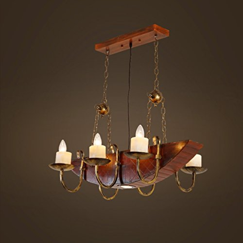 Chandelier Retro Boat Wood, Loft Industry Bar Restaurant Decorative Ideas Internet Cafe Clothing Store Solid Wood Lamps 50-120cm (Color : #1)
