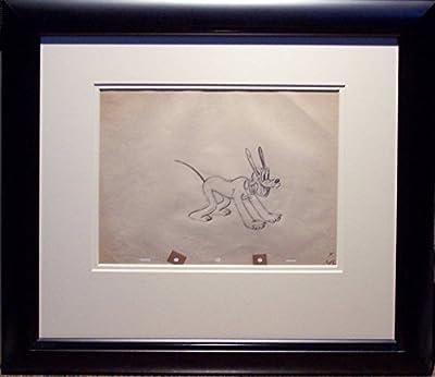 Pluto Rare Original Animation Cel Drawing by Shamus Culhane, 1939 Framed Walt Disney