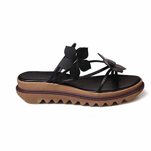 Carolbar Mujeres Applique Chanclas Casuales Sandalias Thong Zapatillas Negro