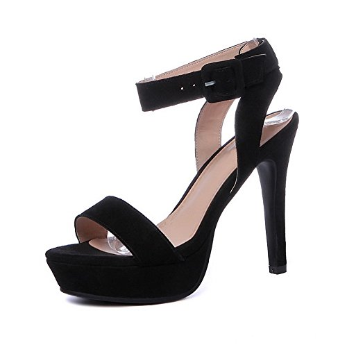 AmoonyFashion Womens Frosted Split Toe High Heels Buckle Solid Sandals Black