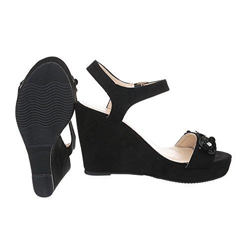 Ital Schwarz BO Keilabsatz 14 Sandalen Schnalle Wedge Design Damenschuhe Sandaletten Keilsandaletten Keilabsatz zwpz7