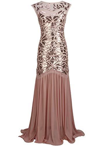 FAIRY COUPLE 1920s Floor-Length V-Back Sequined Embellished Prom Evening Dress XL Rose Gold