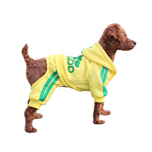 EastCities Winter Puppy Hoodie for Small Dogs Warm Coat Sweater Four Legs Pet Clothes for Dog Cat,Yellow M