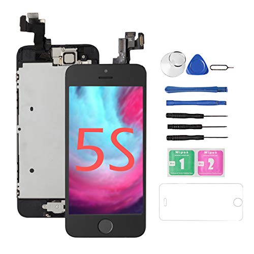 (Replacement Screen for iPhone 5S/5SE [Black],Drscreen LCD Touch Screen Digitizer Full Assembly with Home Button and Camera,for A1533,A1457,A1453,A1530,A1723,A1662,A1724,w/Repair Tool)