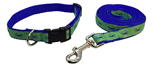 Preston Blue Crab Dog Collar and Leash Set - Blue Crab Design on Green Ribbon with Blue Nylon Webbing (Small)]()