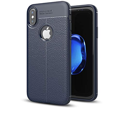 Compatible with iPhone Xs MAX Case - Durable, Shockproof & Slim Cover Shell Made with Flexible TPU. EKPO 6.5 inch case with Rear Texture Design. Designed for Apple iPhone Xs Max (2018) (Dark Blue)