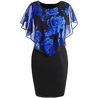 Funic Clearance Deals !Plus Size Womens Summer Casual Rose Print Chiffon O-Neck Ruffles Straight Mini Dress