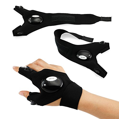 Oct17 Outdoor Activities Cycling Magic Strap Rescue Sporting Gloves 2 LED Flashlight Torch HANDY MECHANIC TOOL - Right Hand]()