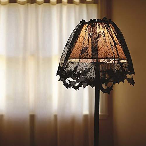 Jeeke Halloween Lamp Shade Black Spider Bat Lace Lamp Cover Halloween Decorations (Black, 60x20cm/23.6x7.87inch)
