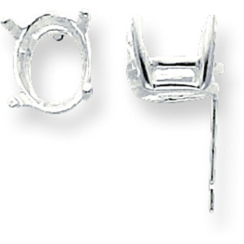 Prong 8 Setting (Sterling Silver 4 Prong Oval Post Earrings 10 x 8mm)