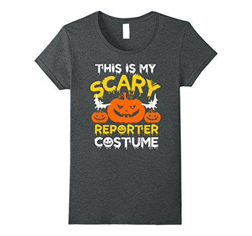 Reporter Costume (Womens This is My Scary Reporter Costume Halloween T-shirt Medium Dark Heather)