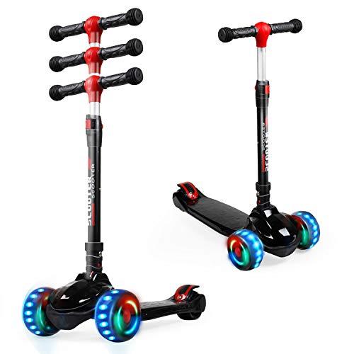 FLYING-ANT Patinete para niños de 3 ruedas con ruedas iluminadas, altura ajustable para niños o niñas