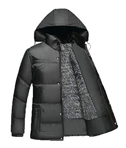 Black Cotton Coats Gocgt Men's Parka Outerwears Jacket Hooded Padded Tqx8tIw