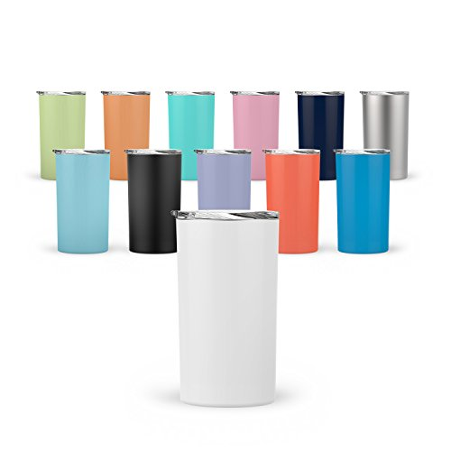 Stainless Steel Push Top Lid - Maars Skinny Mini Insulated Tumbler for Coffee and Tea, 12 oz | Double Wall Vacuum Sealed - Seafoam Blue