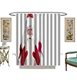 Shower Curtains 3D Digital Printing Christmas Theme Santa Claus Bowing Something from his