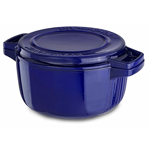KitchenAid 6-qt. Cast-Iron Enameled Dutch Oven and Grill Pan
