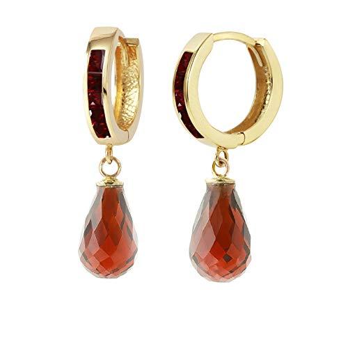 (14k Solid Yellow Gold Princes Cut Natural Garnet Huggie Hoop Earrings with Dangling Briolette Natural Garnets)