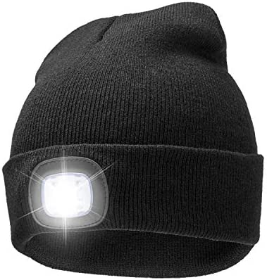 8 LED 4 LED Flashlight Beanie Hat with Hands Free, Rechargeable Headlamp Cap for Hunting, Camping, Grilling, Auto Repair, Jogging, Walking Snow Sweeping