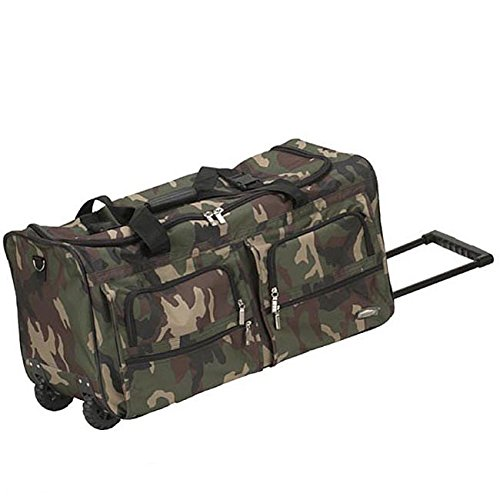 Green Brown Camouflage Army Pattern Carry On Rolling Upright Duffle Bag, Beautiful Military Themed Duffel, Hunting Print Travel Duffel Bag, Wheeled Duffel with Wheels, Wheeling Luggage, Fashionable by DH