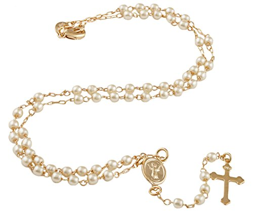 Two Year Warranty Gold Overlay Rosary Jesus Piece On The Cross Pendant & Open Arms Charm with Simulated Pearls 18 Inch (T-72) ()