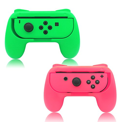 Fyoung Joy-Con Grips for Nintendo Switch (2 packs), Wear-resistant Joy-con Handles for Nintendo Switch (GreenPink) ¡­ (Arm And Switch)