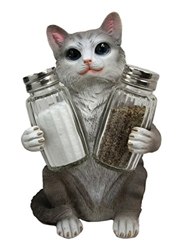 "Ebros Gift Exotic Grey Furry Feline Kitty Cat Salt Pepper Shakers Holder Figurine 8.25"" H Crazy for Cats Kitten Decor of Grey Cats Animal Decor Statue for Kitchen and Dining Entertainment"