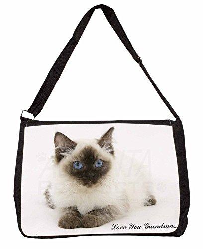 Ragdoll Kitten Love You Grandma Large 16 Black School Laptop Shoulder Bag ITtjkN84LB