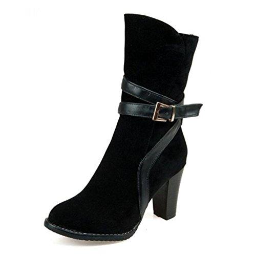 Brillants Bottes BLACK Dames Femmes Chaussures Ceinture Rétro 45 40 Martin De Courtes Taille 48 Grande À Côté Talon BOTXV Zipper Boucle Mi Talons Bottes 5qBIdXXw