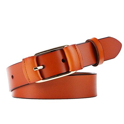 Ladies Designer Belts (Whippy Fashion Genuine Leather Belt for Women Designer Ladies Belt with Golden Buckle)