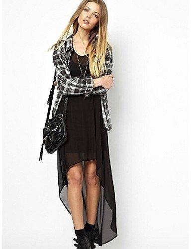 PU&PU Robe Aux femmes Ample Simple,Couleur Pleine A Bretelles Maxi Polyester , black-xxs , black-xxs