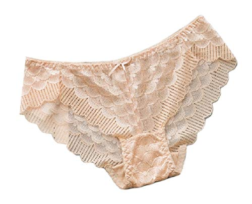 (Howme Women Soft Plush Sexy Scallop Lace Hem Wirefree Cozy Thong Panty OS)